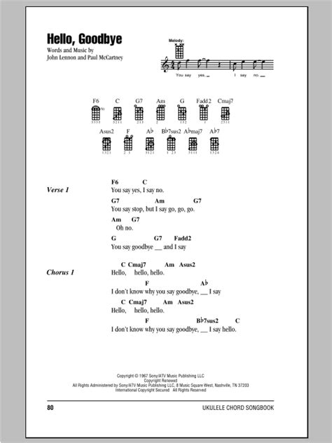 strumming pattern for yellow ukulele hello goodbye sheet music by the beatles ukulele with