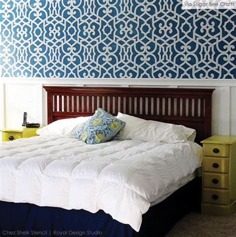 bedroom wall stencils stencils makeover your guest room into a gorgeous get away