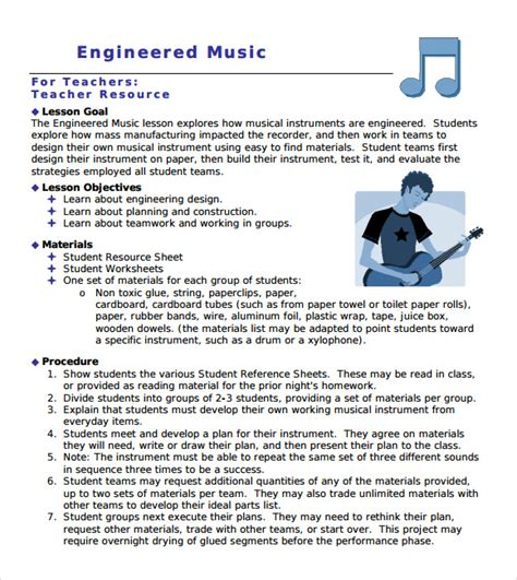 printable music lesson plans world music sle music lesson plan template 8 free documents in