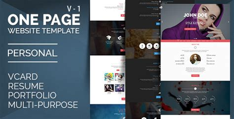 themeforest vcard personal one onepage vcard resume by alia themeforest