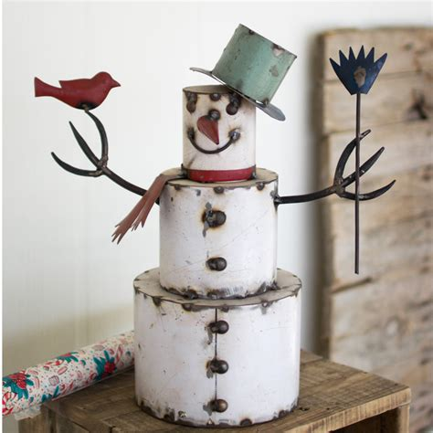 snowman home decor recycled metal snowman nba1125