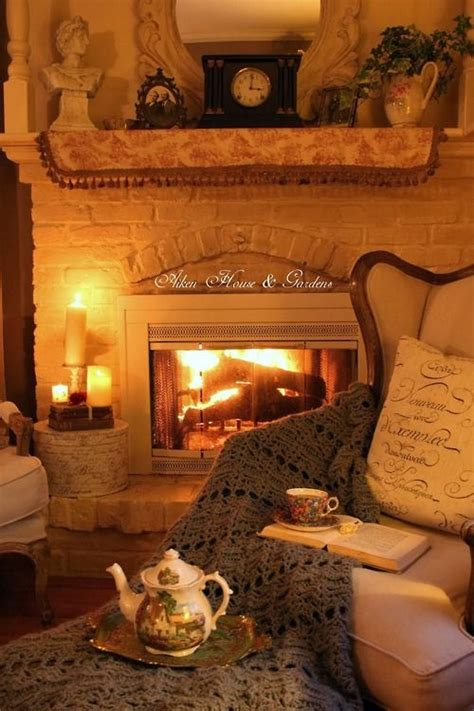 fireplace cozy tea by the fire cozy home pinterest