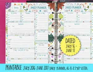 Printable Daily Planner 2017 2016 2017 Daily Planner Printable Dated Planner By