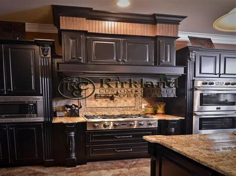 Stylish Kitchen With Distressed Cabinets Home Design Black Kitchen Cabinets