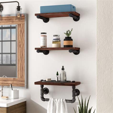 industrial walnut wood floating wall shelf reviews