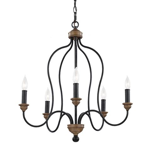 Chandelier Single Feiss Hartsville 5 Light Weathered Zinc Weathered Oak Single Tier Chandelier F2998 5dwz Wo