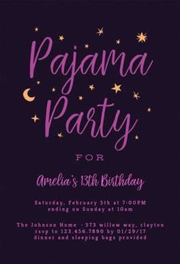 Pajama Party   Free Sleepover Party Invitation Template