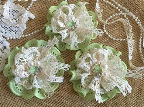 How To Make Handmade Lace - 3 shabby chic lace and fabric handmade flowers green and