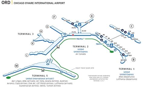 o hare terminal map chicago o hare int l ord airport map united airlines