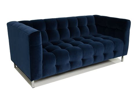 navy blue loveseat delano loveseat in navy velvet modshop