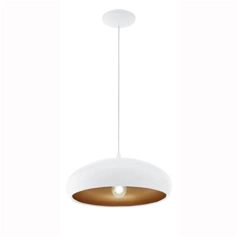 White Pendant Light Eglo 94606 White And Copper Mogano 1 Pendant Light