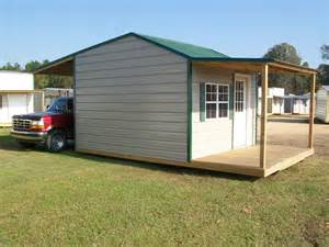 shed with front porch and back canopy