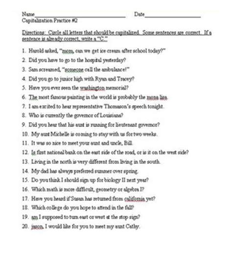 Capitalization Practice Worksheet by Capitalization Practice Worksheets Photos Getadating