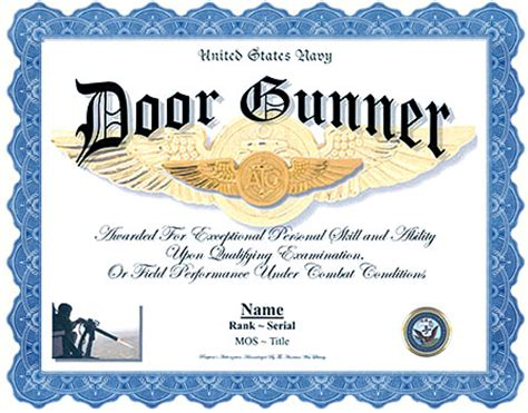 Door Gunner Mos by Us Army Door Gunner Professional Display Recognition
