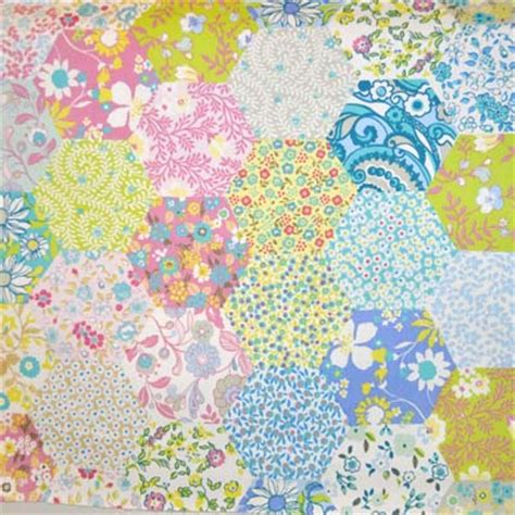 Childrens Patchwork Fabric - floral pattern fabrics flowers in pinks blues yellow and