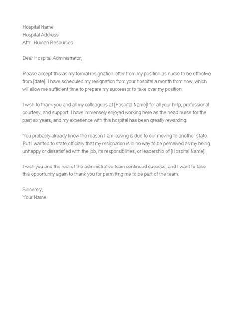 sample resignation letter staff nurse templates