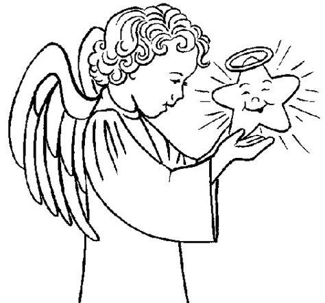 dibujos de navidad para colorear dibujosnet dibujo de 193 ngel y estrella para colorear dibujos net