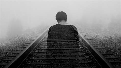 wallpaper  railway loneliness bw