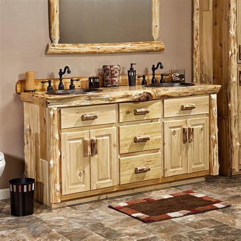 real cedar log cabin vanity   rustic bathroom