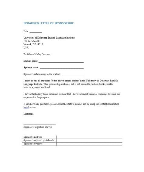 Sle Notarized Support Letter 30 Professional Notarized Letter Templates Template Lab