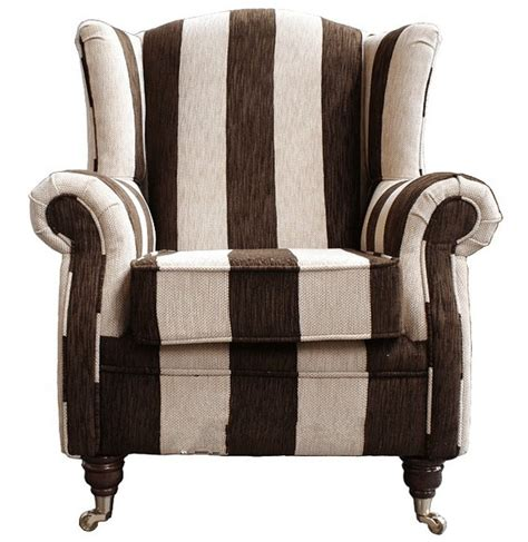 high wing back armchair wing chair fireside high back armchair harrison stripe brown