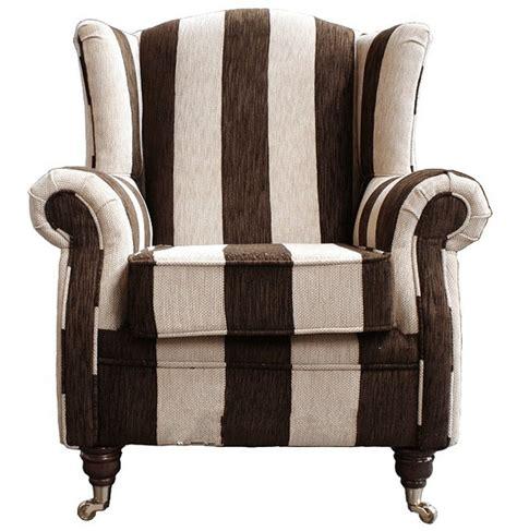wing chair fireside high back armchair harrison stripe brown