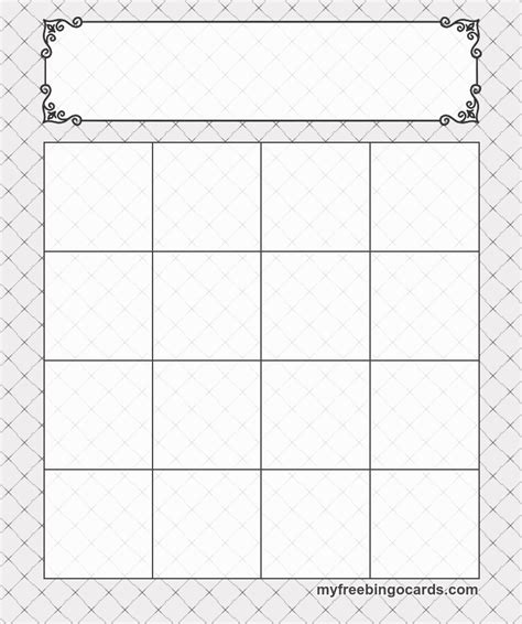 4x4 Bingo Template by 4x4 Bingo Template