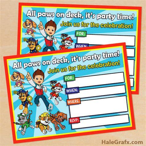 Paw patrol birthday free printable invitations birthday invitations