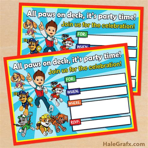 printable birthday card paw patrol free printable paw patrol birthday invitation