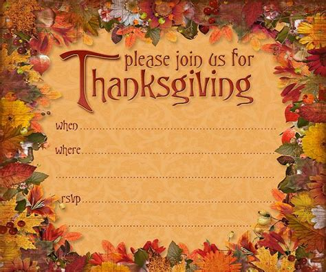 Thanksgiving Invitation Card Template by Thanksgiving Invitations 365greetings