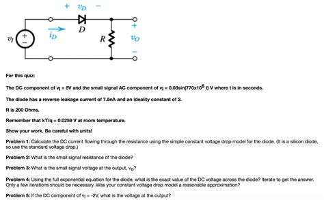 diode exponential equation for this quiz the dc component of v 1 5v and th chegg