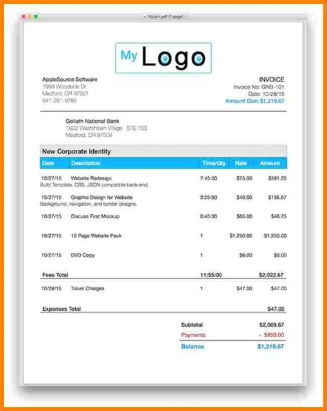 Apple Pages Invoice Template Apcc2017 Apple Pages Invoice Template