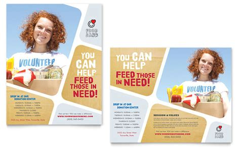 Templates For Posters In Publisher | food bank volunteer poster template design