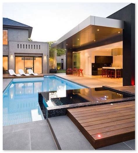 desain dapur menyatu dengan ruang tamu desain ruang santai terbuka yang menyatu dengan kolam