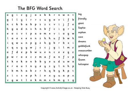 printable word searches activity village the bfg word search