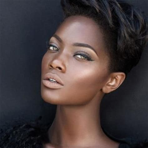 high cheekbones short hair beautiful woman with high cheekbones brown skin and short