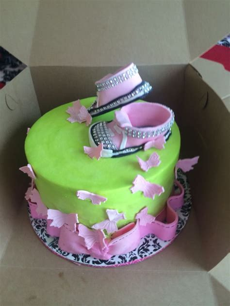 Pink And Lime Green Baby Shower by A Lime Green And Pink Baby Shower Cake With Shoes