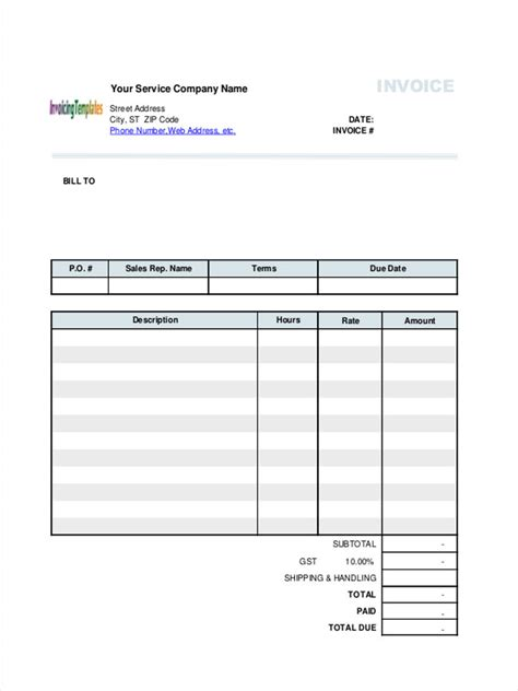 hourly service invoice template 8 service invoice form sle free sle exle
