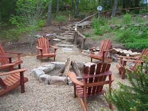 Rustic Firepit In Ground Pit With Seating
