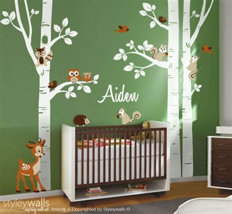 Nursery Decor Stores Birch Trees Wall Decal Nursery Wall Decal Forest Trees Wall Decal Styleywalls On Artfire