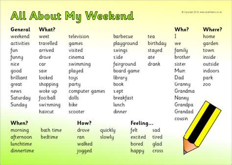 weekend news writing word mat sb9375 sparklebox