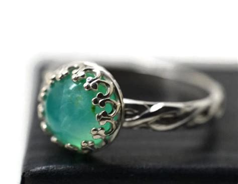 peruvian blue opal ring celtic silver ring blue green