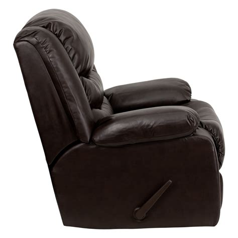 Plush Leather by Plush Leather Lever Rocker Recliner With Padded Arms