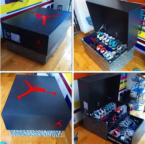 sneaker box storage brand storage wooden box