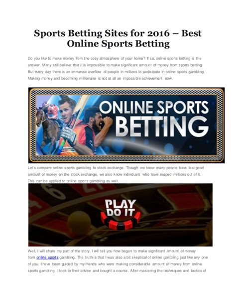 How To Make Money Sports Betting Online - sports betting sites for 2016 best online sports betting