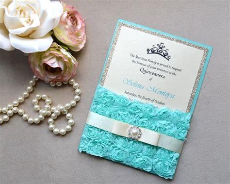 mexican invitations quinceanera lace invitaciones de rosette quince invitation turquoise lace by paperlaceboutique