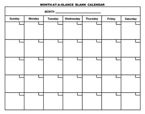 Large Monthly Calendar 2017