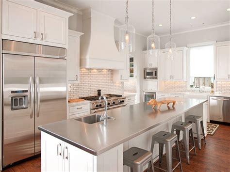 white kitchen island with stainless steel top kitchen countertop ideas 30 fresh and modern looks