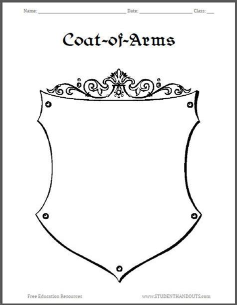 coat of arms template for students best ideas about arms worksheet worksheet mystery and
