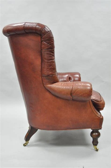 Oversized Tufted Chair by Oversized Lillian August Brown Tufted Leather
